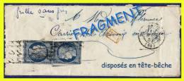 N° 4 CÉRÈS IIe RÉPUBLIQUE 1850 - 2 EX. DISPOSÉS EN TÊTE-BÊCHE SUR FRAGMENT - OBLITÉRÉS B - GRILLE SANS FIN - RARE - - Marcophilie (Lettres)