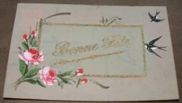 Carte En Celluloide  Roses Et Hirondelles Bonne Fetes - Fantaisies