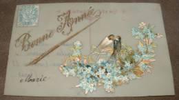 Carte En Celluloide  Chromo Oiseaux Sur Un Bleuet Bonne Année - Fantaisies