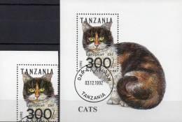 Katzen-Rassen 1992 Tansania 1412 Plus Block 201 O 6€ WWF Katze European Cat Blocchi Bf Cats Bloc Fauna Sheet Of Tanzania - Tanzania (1964-...)