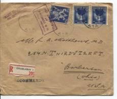 TP 748(2) Festival Du Film-683 S/L.recommandée C.Charleroi En 1948 V.Barberton USA C.d'arrivées AP363 - Belgique