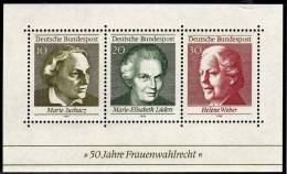 Frauen Wahl-Recht 1969 BRD Block 5 ** 1€ Frauenrechtlerin Juchacz Lüders Weber Blocchi Bf Bloc Woman Sheet Of Germany - Mother's Day