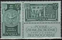 Gorzow Westgebiete 1962 Polen 1301/2 Als Paar ** 1€ Siegel Konrad II. Tuch-Fabrik Landsberg History Se-tenant Of Polska - Blocks & Sheetlets & Panes