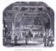 Paris, Chaillot, Usine Derosne Et Cail, Atelier D'ajustage - Gravure Sur Bois De 1849 - Stiche & Gravuren