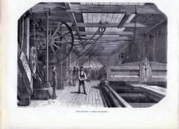 Paris, Chaillot, Usine Derosne Et Cail, Atelier Des Tourneurs - Gravure Sur Bois De 1849 - Stiche & Gravuren