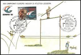 ATHLETICS - ITALIA GENOVA 1992 - XXII CAMPIONATI EUROPEI INDOOR D´ATLETICA LEGGERA - CARTOLINA UFFICIALE FIDAL - Atletica