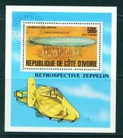 IVORY COAST - 1977 Zeppelin Miniature Sheet As Scan - Ivory Coast (1960-...)