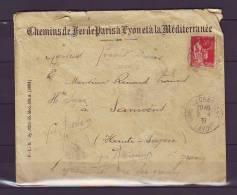 TIMBRE. FRANCE. LETTRE. CHEMIN DE FER. PARIS. LYON. 1937. SAMOENS. SHAUTE AVOIE. - Covers & Documents