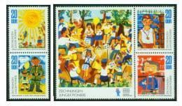 DDR  1974  Zeichnungen Junger Pioniere  (2 Zsdr ** (MNH) Kpl. )  Mi: 1991-94 (2,00 EUR) - Neufs