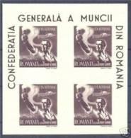 ROMANIA 1947 PLANE LABORER BLOCK OF 4 SC # CB9a MNH - Rumänien
