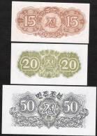 KOREA NORTH  P5-7  15,20,50 CHON 1947   UNC. - Corée Du Nord