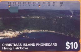 Christmas Island - CHR-3, Flying Fish Cove, 10$, 22,500ex, 1/94, Used - Islas Christmas
