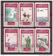 MA394-L4075TARM.Maroc Espagnol.Spanish Morocco MARRUECOS ESPAÑOL PRO TUBERCULOSOS 1954 (Ed 394/99**)sin Charnela - Mezquitas Y Sinagogas