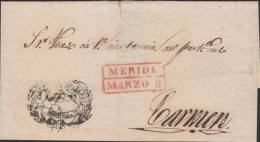 G) 1830 MEXICO, MERIDA RED SEAL BOX, WITH OFFICIAL ORNAMENTAL STRIKE, LARGE SIZE SIZE ENEVELOPE, XF - Mexico