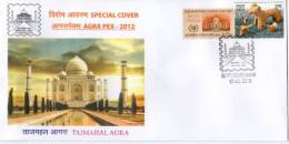 India 2012 Taj Mahal AGRAPEX-12 Architecture EMBOSSED Special Cover Inde Indien # 6505 - Mosques & Synagogues
