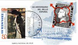 Gemälde Espamer In Spanien 1980 Kuba 2493 Als Block 63 O 4€ Frau Im Park Stamp On Stamp Bloc Sheet From Cuba - Stamps On Stamps