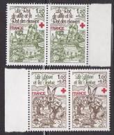 N° 2024 Et 2025 Au Profit De La Croix Rouge Le Lièvre Et La Tortue,le Rat De Ville Et Le Rat Des Champs : 2 Paires  Timb - France