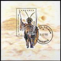 Trachten 1993 Tanzania Block 236 O 3€ Afrikanische Stammes-Tracht Krieger Zulu Bf Military Bloc Art Sheet Of Tanzanie - Tanzania (1964-...)