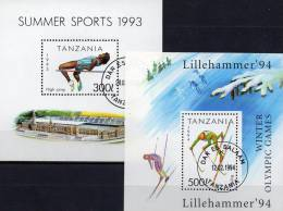 Olympiade 1992 Tansania Block 212 Plus 239 O 6€ Hochsprung Stadion Skilauf Olympic Sport Bloc Athletic Sheet Bf Tanzania - Tanzania (1964-...)