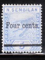 Malaya Negri Sembilan 1899 Tiger 4c On 5c Mint - Negri Sembilan