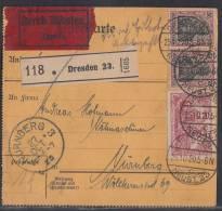 DR Paketkarte Eilbote Mif Minr.2x 91II, 115 Dresden 25.10.20 - Gebraucht