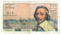 10 N F RICHELIEU 6-4- 1961  ETAT  TB+   N178 - 10 NF 1959-1963 ''Richelieu''