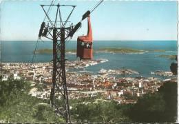 CARTE POSTALE PHOTO ORIGINALE DENTELEE : TOULON ; LE TELEPHERIQUE DU MONT FARON ; LA RADE ; VAR (83) - Toulon