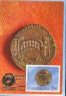 Maximum Card, Romania, Roman Coin On Stamp, Apolodor´s Bridge From Drobeta  On Coin, History, Archaeology - Monnaies