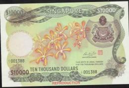 SINGAPORE * REPRODUCTION *like P8A 10.000 DOLLARS 1973  UNC. - Singapore