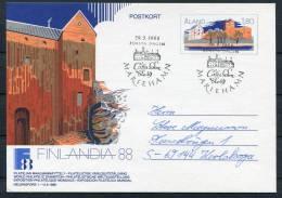 1988 Aland Mariehamn Finlandia Castle Stationery Postcard First Day - Aland