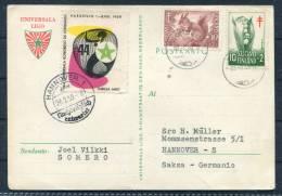 1959 Germany Finland Somero Hannover Esperanto Universala Ligo Postkarte - Esperanto