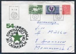 1969 Finland Helsinki Esperanto Vignette  Universala Ligo Congress Cover - Esperanto