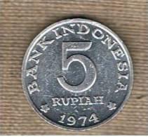 INDONESIA -  5 Rupias 1974  KM37 - Indonesia