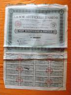 ACTION - LA SOIE ARTICIELLE D´AMIENS - PART BENEFICIAIRE AU PORTEUR - 28 JUIN 1927 - Textile