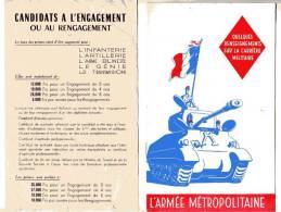 PLAQUETTE - L'ARMEE METROPOLITAINE - ANNEE 50  - QUELQUES RENSEIGNEMENTS SUR LA CARRIERE MILITAIRE - Documents