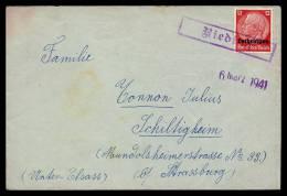 6-4-1941 - Griffe Encadrée Rieding Sur Lettre Vers Schiltigheim - Marcophilie (Lettres)