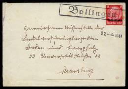 24-7-1941 - Griffe Encadrée Bollingen Sur Lettre Vers Strasburg - Marcophilie (Lettres)
