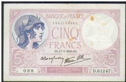 Billet De 5 Francs (Violet) - Type 1917 Modifié - Daté De : 17 Aout 1939 - 5 F 1917-1940 ''Violet''