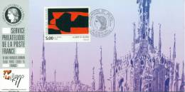 100 Carte Officielle Exposition Internationale Exhibition Milanofil 1993 FDC Tableau Kunst Painting Alberto Burri Church - Esposizioni Filateliche