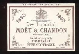 Etiquette De Champagne   Moët Et Chandon  -  Dry Impérial    - 1953  -  8.40 X 12 Cm - Champagne