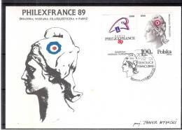 CM Pologne -  Marianne - Philexfrance 89 - Avec Vignette (à Voir) - Cartes Maximum