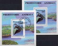 WWF Dinosaurier 1991 Tansania Block 146 ** Plus O 4€ Ramphorhynchus Bf Prehistorics Bloc Fauna Sheet Of Tanzanie Africa - Tanzania (1964-...)