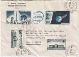 Lettre De S.H.B.,  Issy-les-Moulineaux Avec Triptyque Fusée Diamant & Satellite 1965, N° 1465 A. Dir. Berne, Suisse - Storia Postale