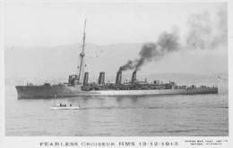 Croiseur Britannique FEARLESS (Royal Navy) - Carte Photo éd. Marius Bar Tirage Ancien - Ship/schiff/bateau - Guerra