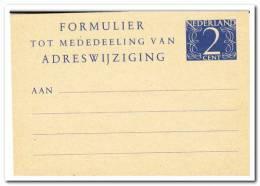 Formulier Voor Adreswijziging 2 Ct. Kleinformaat - Postal Stationery