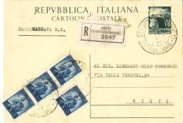 J342) ITALIA CARTOLINA POSTALE DEMOCRATICA 15 LIRE DEL 1949 RACCOMANDATA - 6. 1946-.. Repubblica