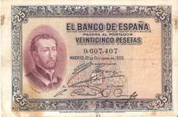 BILLETE DE ESPAÑA DE 25 PTAS  DEL AÑO 1926 SIN SERIE   Y CALIDAD BC+  (BANKNOTE) - 1-2-5-25 Pesetas