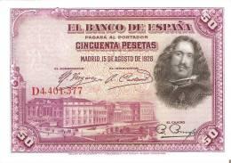 BILLETE DE ESPAÑA DE 50 PTAS DEL AÑO 1928 SERIE D CALIDAD EBC+ (BANKNOTE) - [ 1] …-1931 : Primeros Billetes (Banco De España)