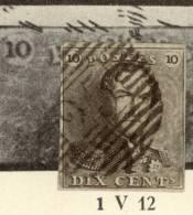 Nr.1-V12 (W.B) Arcering Op De Bovenste Kaderlijn,zegel N°120 P25 Is Van Het Type II Schuine 5: Zeldzame Combinatie - 1849 Epaulettes