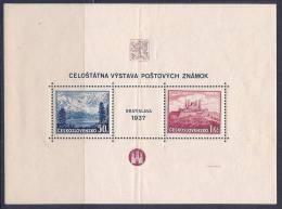 Czechoslovakia, Scott # 239 MNH S/S Bratislava 1937, Creased, Priced As MNH Stamps - Blocks & Sheetlets